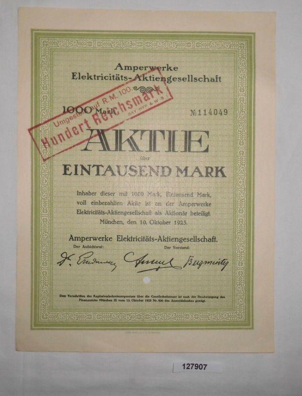 1000 RM Aktie Amperwerke Elektricitäts-AG München 10. Oktober 1923 (127907)