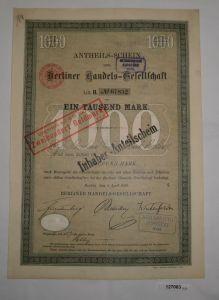 1000 Mark Anteilsschein Berliner Handels-Gesellschaft 5. April 1899 (127063)