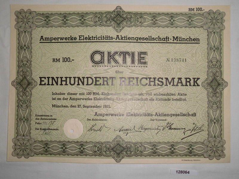 100 RM Aktie Amperwerke Elektricitäts-AG München 27. September 1932 (128064)