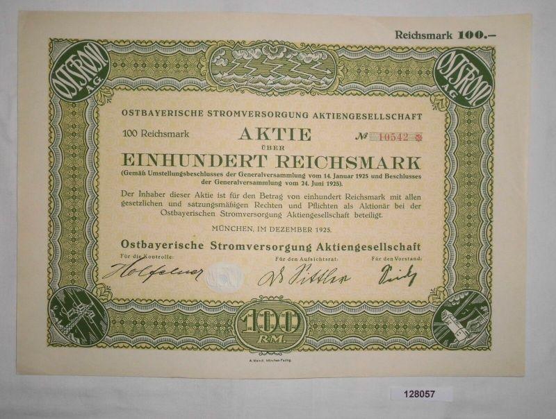 100 RM Aktie Ostbayerische Stromversorgung AG München Dezember 1925 (128057)