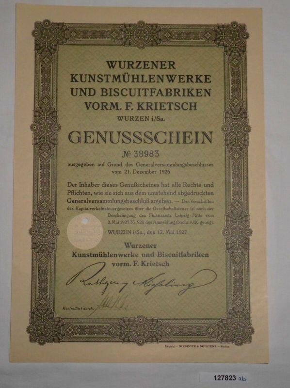 Genussschein Wurzener Kunstmühlenwerke & Biscuitfabriken Wurzen 1927 (127823)