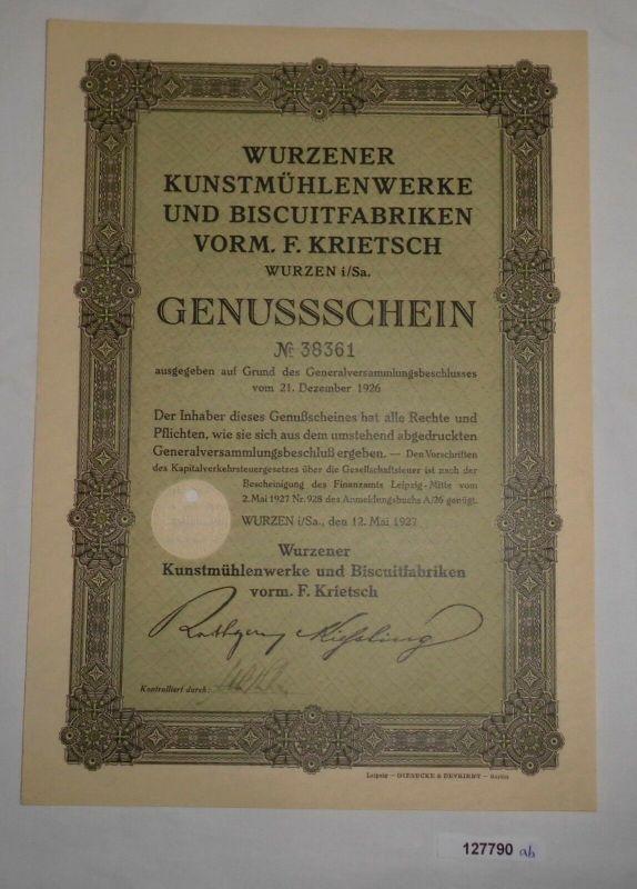 Genussschein Wurzener Kunstmühlenwerke & Biscuitfabriken Wurzen 1927 (127790)