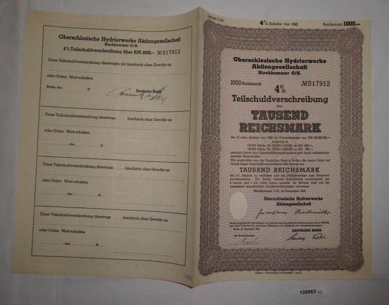 1000 RM Schuldverschreibung Oberschlesische Hydrierwerke Blechhammer (128863)