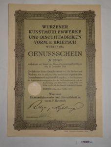 Genussschein Wurzener Kunstmühlenwerke & Biscuitfabriken Wurzen 1927 (127809)