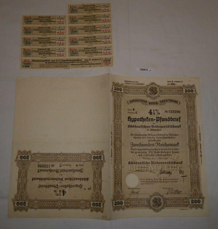 200 RM Pfandbrief Süddeutsche Bodencreditbank München 15. Mai 1940 (126912)