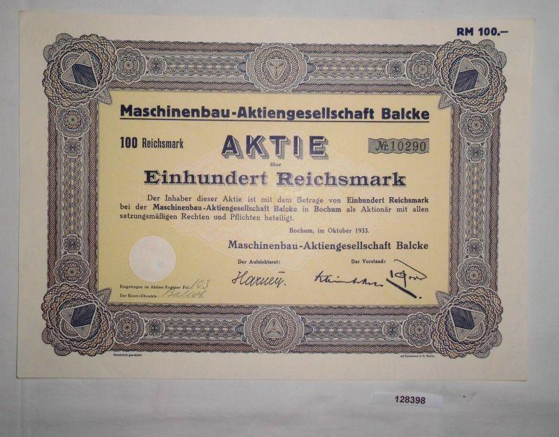 100 Reichsmark Aktie Maschinenbau AG Balcke Bochum Oktober 1933 (128398)