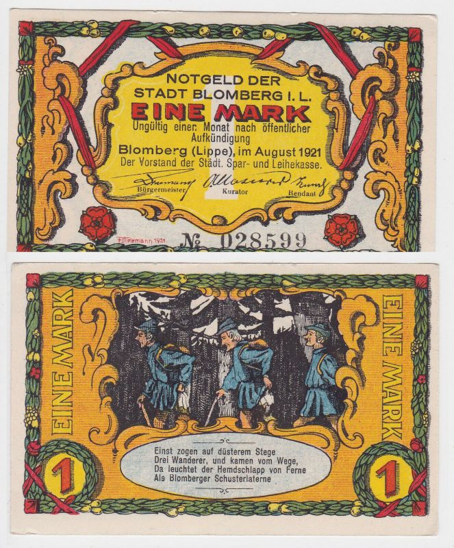 1 Mark Banknote Notgeld Stadt Blomberg (Lippe) 1921 (129078)