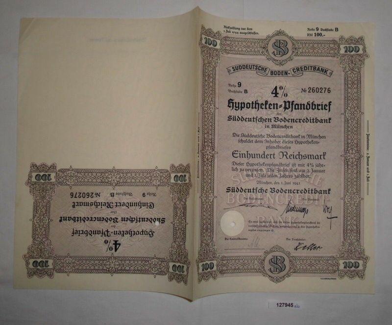 100 RM Pfandbrief Süddeutsche Bodencreditbank München 1. Juni 1941 (127945)