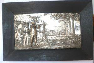 Wunderbares plastisches Metallbild Jäger Jagd Schützen um 1920 (100351)