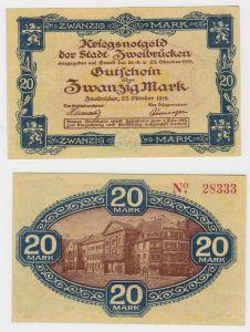 20 Mark Banknote Kriegsnotgeld Stadt Zweibrücken 25.Oktober 1918 (130079)