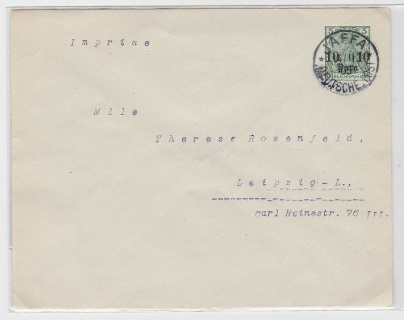 68893 Ganzsachen Brief Deutsche Post in Jaffa 10 Para 1905
