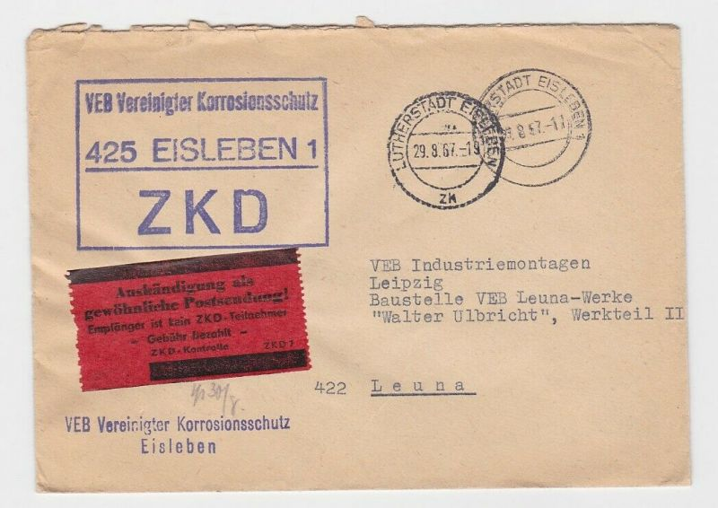 61515 Korrespondenzbrief VEB Vereinigter Korrosionsschutz Eisleben 1967
