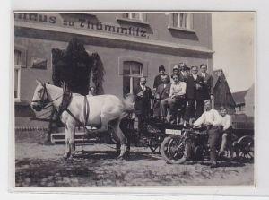 90602 Foto Pferdekutsche mit Familie mit Getränken & Motorrad