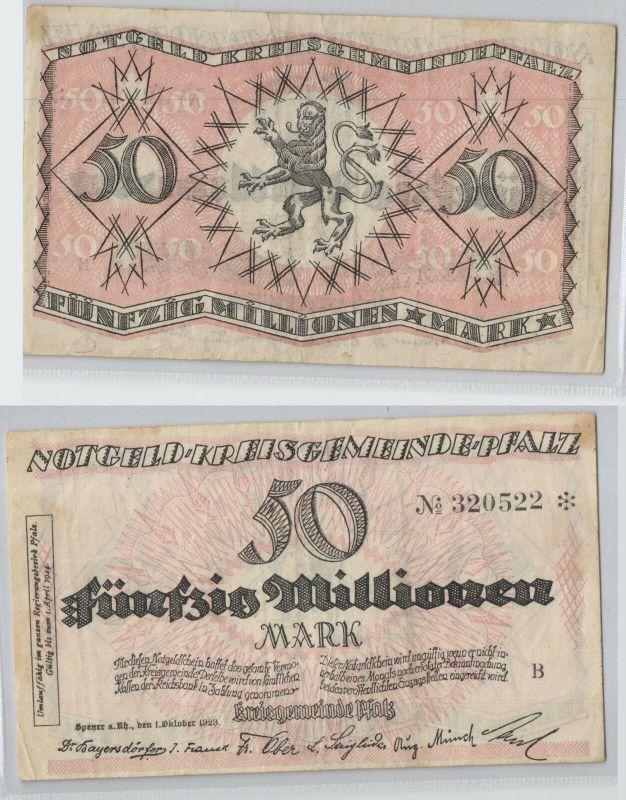 50 Millionen Mark Banknote Notgeld Kreisgemeinde Pfalz Speyer 1.10.1923 (129789)