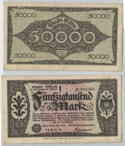 25000 Mark Banknote Notgeldschein Köln 2. Juli 1923 Serie D (129205)