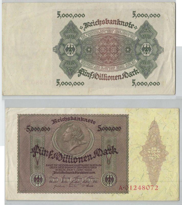 5 Millionen Mark Banknote Deutsches Reich Berlin 1. Juni 1923 Ro. 88 (129673)