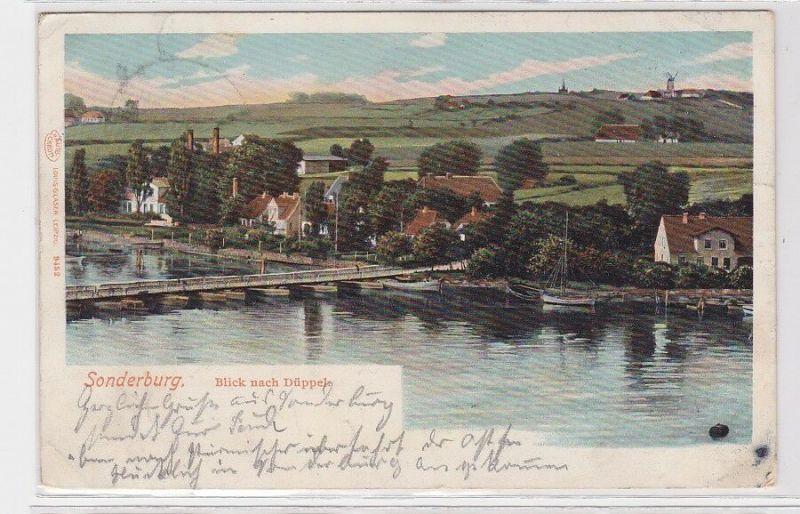 91699 AK Sonderburg - Blick nach Düppel vom Fluss aus 1907