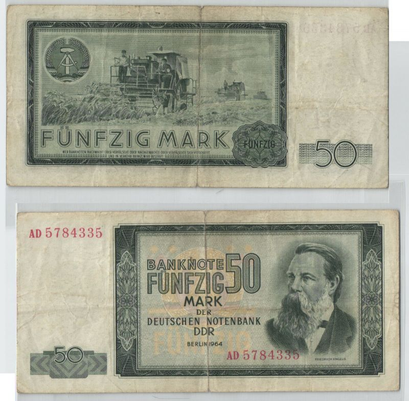 50 Mark Banknote Deutsche Notenbank DDR 1964 (129154)