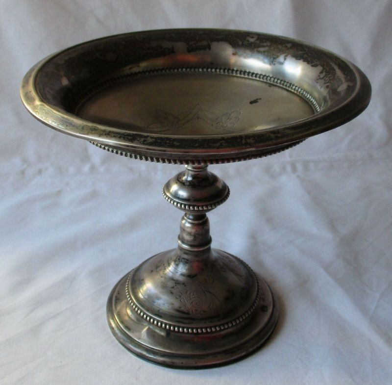 Elegante 750er Silber Konfektschale mit Jugendstil Verzierung vor 1900 (112235)