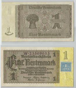 1 Mark Banknote DDR Deutsche Notenbank 1948 Kuponausgabe (129362)