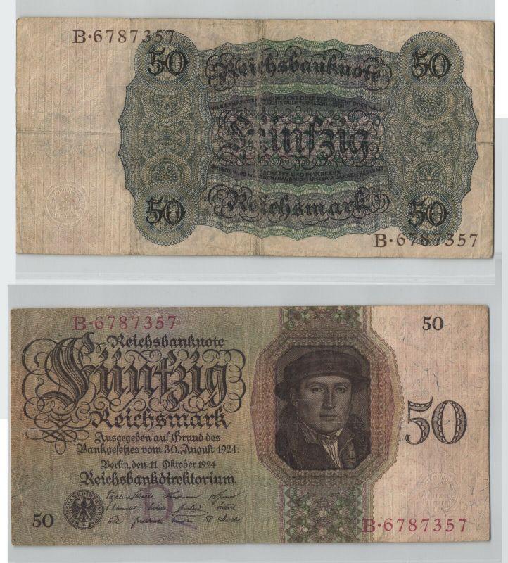 50 Reichsmark Banknote Deutsches Reich 11.10.1924 Rosenberg 170 a (129266)