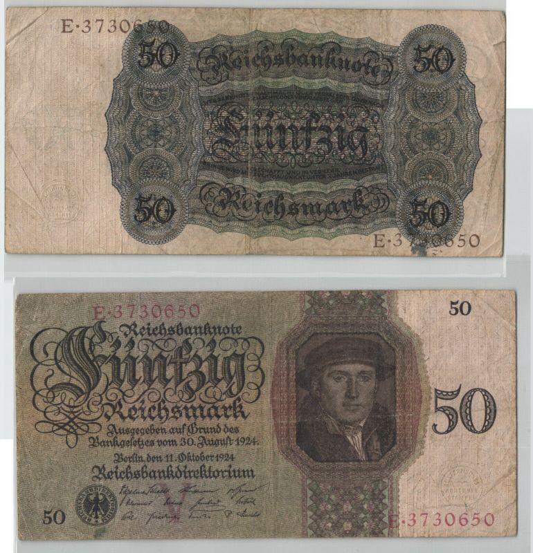 50 Reichsmark Banknote Deutsches Reich 11.10.1924 Rosenberg 170 a (129367)