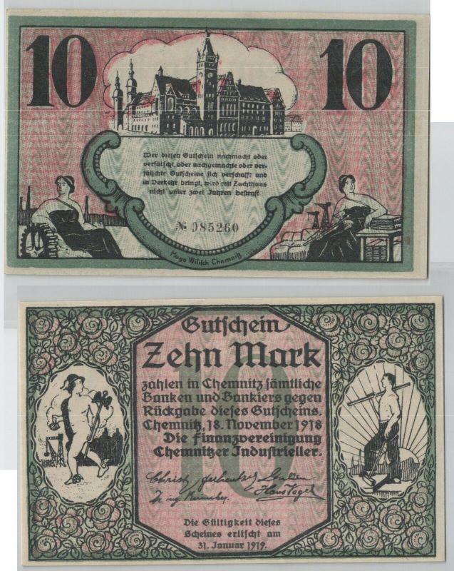 10 Mark Banknote Finanzvereinigung Chemnitzer Industrieller 18.11.1918 (129176)