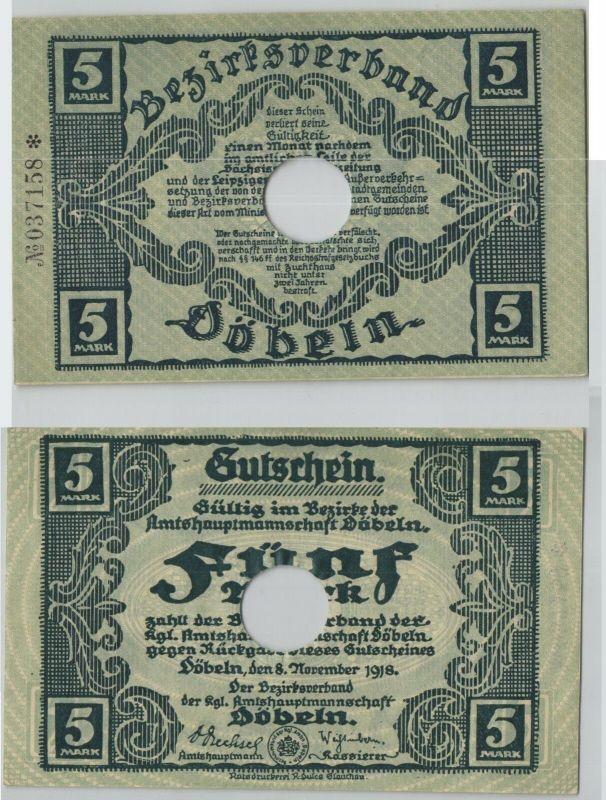5 Mark Banknote Notgeldschein Döbeln 8. November 1918 (129178)