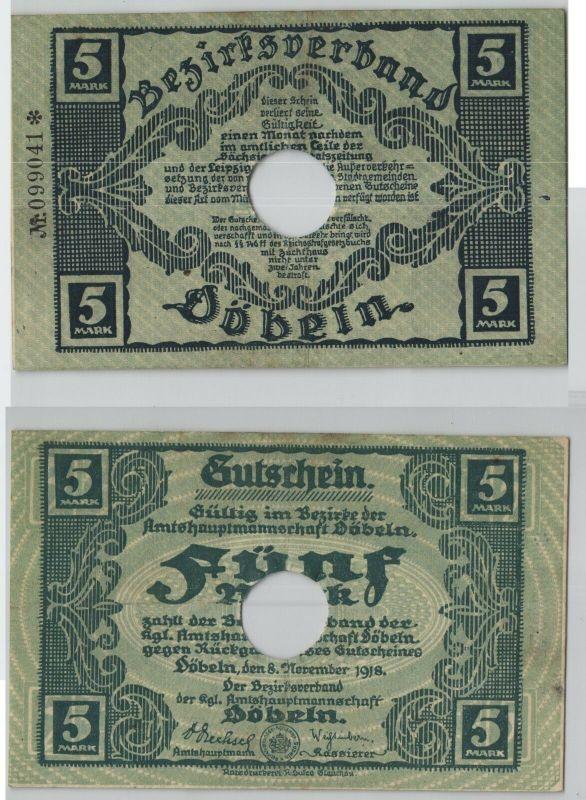5 Mark Banknote Notgeldschein Döbeln 8. November 1918 (129188)