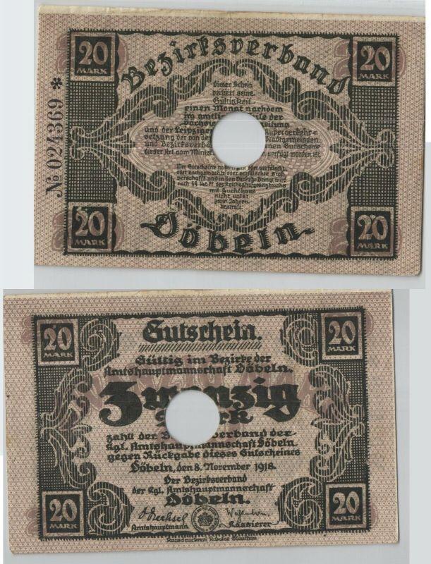 20 Mark Banknote Notgeldschein Döbeln 8. November 1918 (129183)