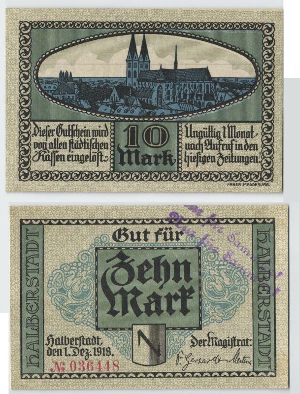 10 Mark Banknote Notgeld Halberstadt 1. Dezember 1918 (129763)