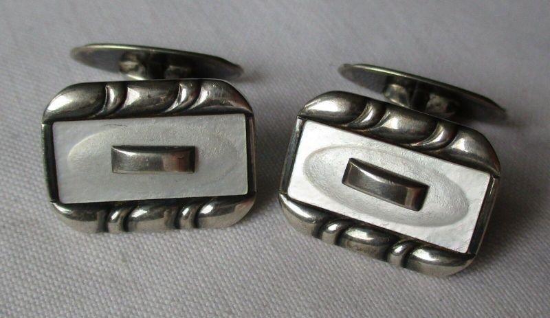 Hochwertige 835er Silber Manschettenknöpfe mit Perlmuttauflage (128568)