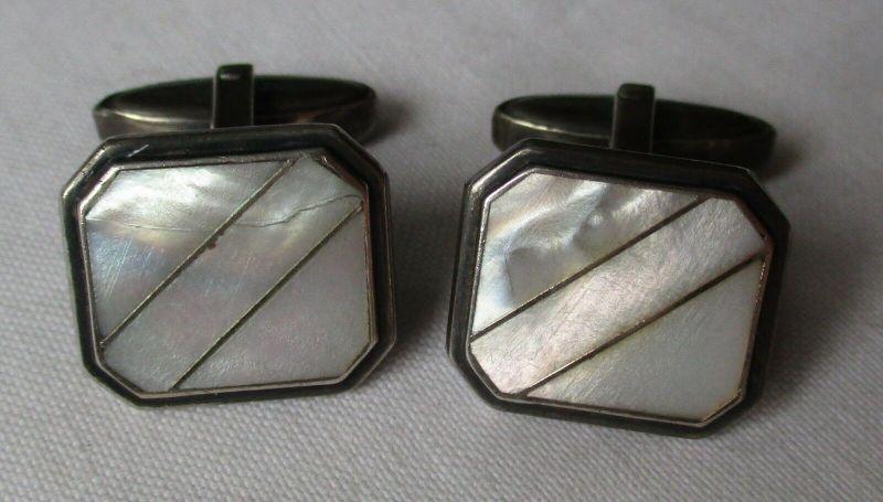 Elegante 835er Silber Manschettenknöpfe mit Perlmuttauflage (129163)