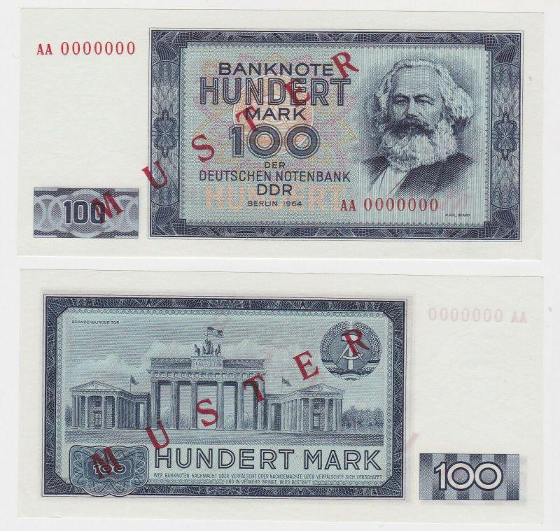 Muster Banknote 100 Mark DDR 1964 Deutsche Notenbank kassenfrisch (130356)