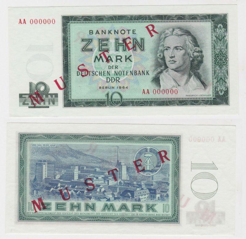 Muster Banknote 10 Mark DDR 1964 Deutsche Notenbank kassenfrisch (130292)