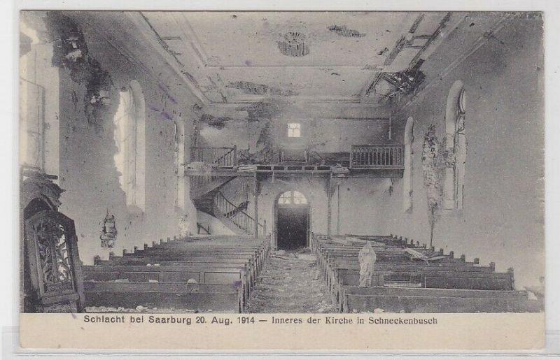 40952 AK Schlacht b. Saarburg 20. August 1914 - Inneres d. Kirche Schneckenbusch
