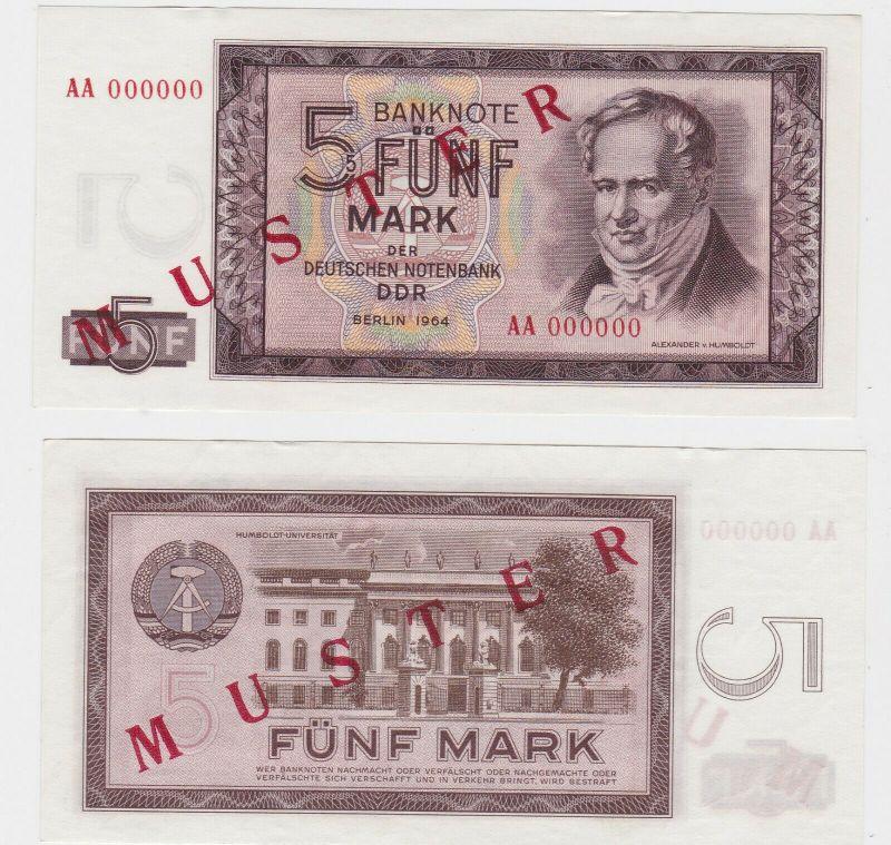 Muster Banknote 5 Mark DDR 1964 Deutsche Notenbank kassenfrisch (130430)