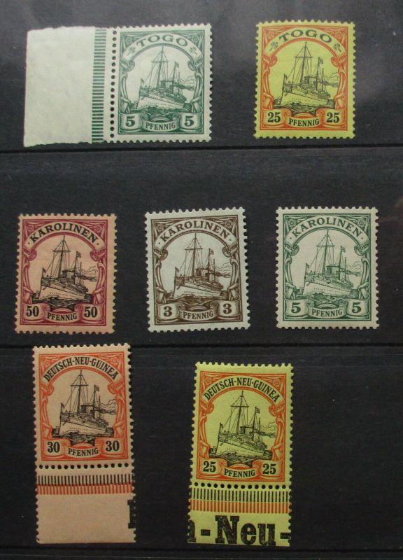 Briefmarken dt.Kolonien Togo, Karolinen, Neu Guinea mit 7 Werten (130040)