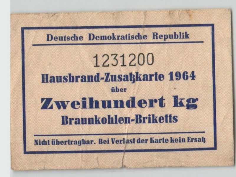 DDR Hausbrand-Zusatzkarte 1964 über 200 kg Braunkohlen-Briketts (129234)