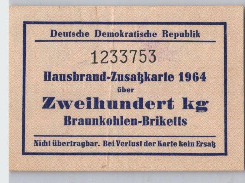 DDR Hausbrand-Zusatzkarte 1964 über 200 kg Braunkohlen-Briketts (129669)