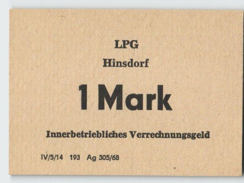 1 Mark Banknote DDR LPG Geld Hinsdorf 1968 (19563)