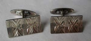 Stilvolle 835er Silber Manschettenknöpfe mit elegantem Streifen Muster (129226)