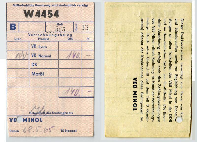 Alter DDR Tank Beleg VEB Minol 1965 (129579)