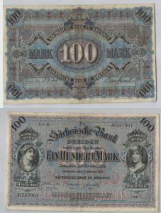 100 Mark Banknote sächsische Bank Dresden 02.01.1911 (129415)