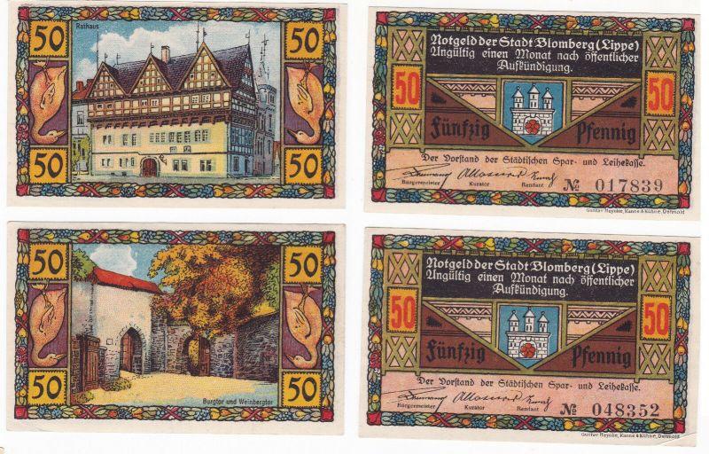 2 x 50 Pfennig Banknoten Notgeld Stadt Blomberg (Lippe) 1921 (129884)