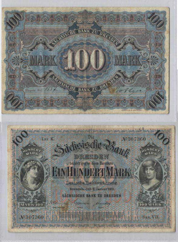 100 Mark Banknote sächsische Bank Dresden 02.01.1911 (129145)