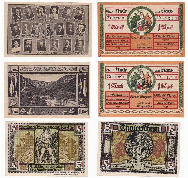 3 Banknoten Notgeld Stadt Thale am Harz 1921 (129921)