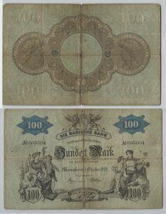 100 Mark Banknote Badische Bank Mannheim 1.10.1902 (129179)