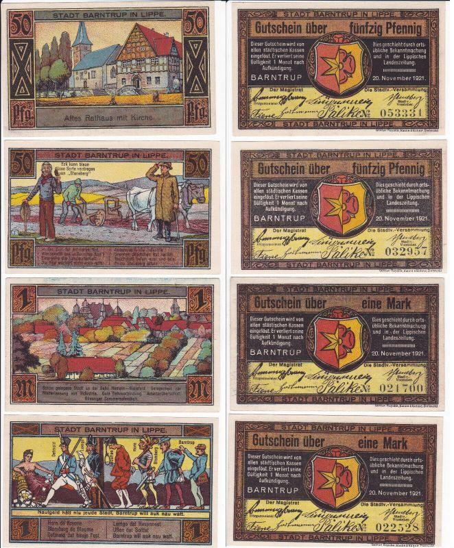 4 Banknoten Notgeld Stadt Barntrup 20.11.1921 (129937)
