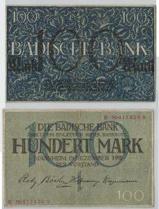 100 Mark Banknote Badische Bank Mannheim 15.12.1918 (129173)